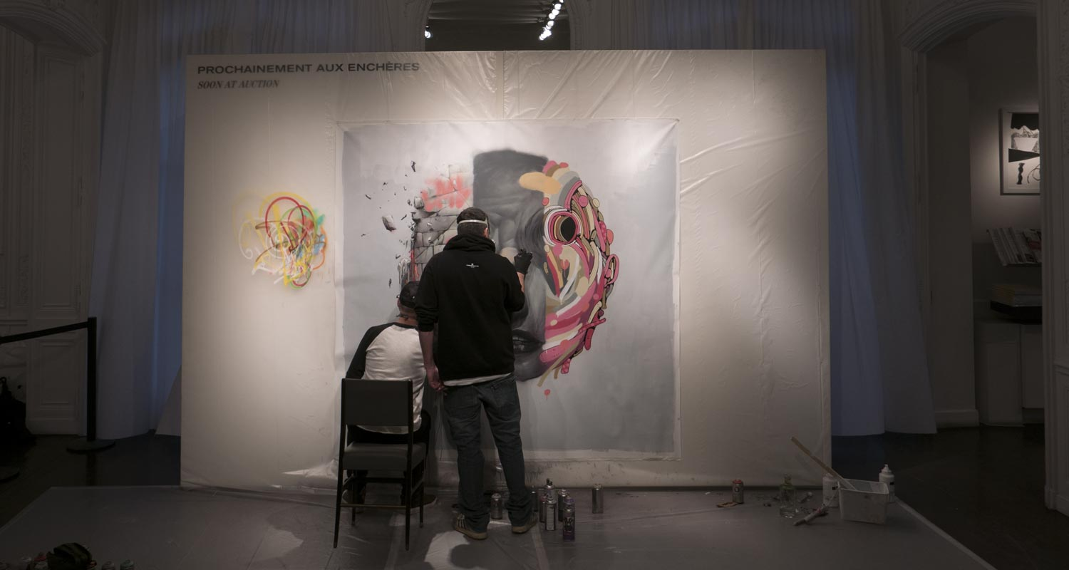 Artcurial-Urban Art-auction : Live painting by Bom.k, Brusk & Gris1
