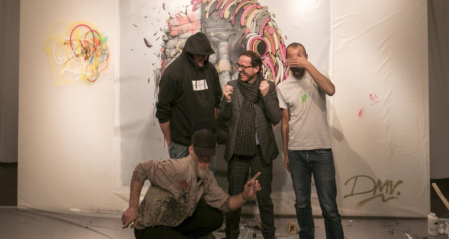 Artcurial-Urban Art-auction : Live painting by Bom.k, Brusk & Gris1 featuring Arnaud Oliveux